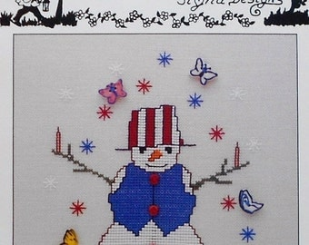 CLEARANCE Thimb Elena Sigrid Designs FIRECRACKER SNOWMAN July - Counted Cross Stitch Pattern Chart