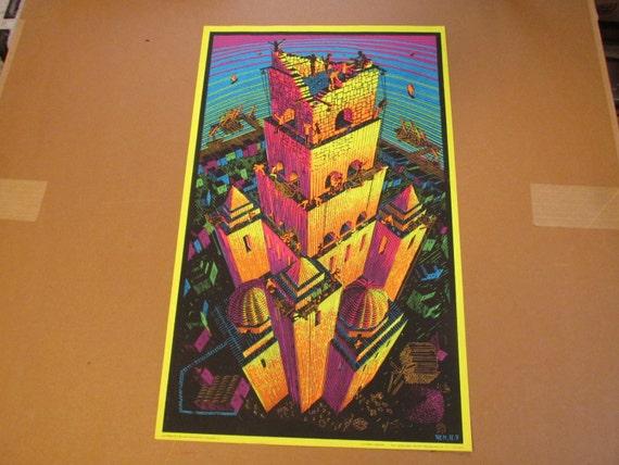 1960s blacklight m c escher poster tower of babel victory. Black Bedroom Furniture Sets. Home Design Ideas