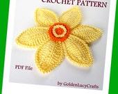 CROCHET PATTERN Daffodil Applique, PDF File, Spring Flower, Narcissus