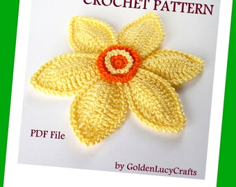 CROCHET PATTERN Daffodil Applique, PDF File, Spring Flower, Narcissus
