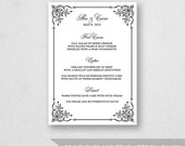 Wedding Menu Template Printable - INSTANT DOWNLOAD - For Word and Pages - Mac and PC - Calligraphy Flourish - 5 x 7 inches