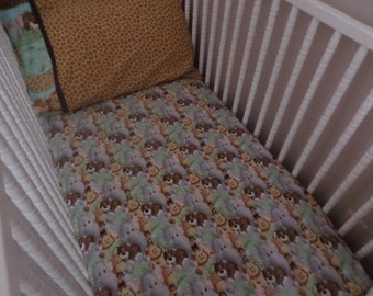 Jungle Baby Faces . CRIB or TODDLER Fitted Cotton Bed Sheet
