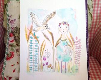 Winged Messenger - A4 Signed, Fine Art Print   girl, whimsy, flowers, barn owl, illustration, girls bedroom