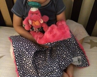 "Navy Stars & Hot Pink Minky Mini Baby Blanket: ""Miss Hollywood"" Yummy"