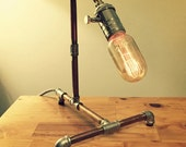 Desk Lamp — Red Brass Pipe & Stainless Steel Fittings