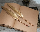 GOLD Feather pen Feather  Ball Point Pen With Feather  Wedding Signing Pen Quill Dip Pen - Gold