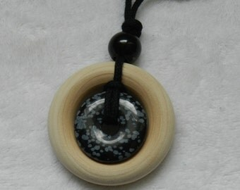 Small Wood and Snowflake Obsidian Nursing Necklace