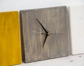 Modern Wall Clock, Wooden, Minimal decor, 3 piece mustard, driftwood, white