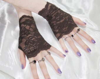 Chocolate Brown Lace Arm warmers armwarmers sleeves glove fingerless gloves arm warmer - Fayette - belly dance goth gothic bohemian boho fae