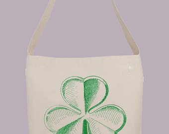 Vintage Shamrock Illustration   - Hobo Sling Tote, 14.5x14x3, Crossbody Strap, Magnetic Closure, Inside pocket