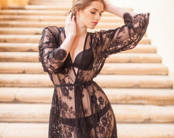 Pour le Boudoir Black Lace Getting Ready Cover Up Robe