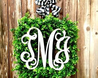 Boxwood Wreath-Monogram Wreath-Boxwood Monogram Wreath-Housewarming Gift-Wreath-Square Wreath-Faux Boxwood Wreath-Modern Decor