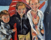 GrandChildren out with a Lobster  Origiginal Oil Painting by Marlene Kurland Painting of kids