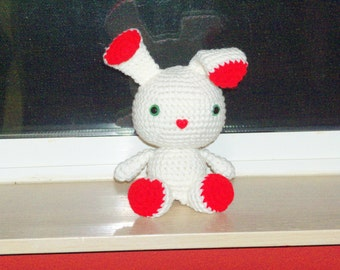 Sweetheart Bunny - White and Red Crochet Bunny Doll