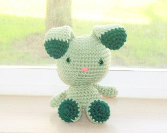 Two-Toned Bunny - Frosty Green and Emerald Crochet Bunny Doll (Finished Doll)