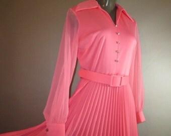 "1970's Accordion Pleat Maxi Dress // Chiffon Sleeves // Rhinestone Accent Buttons...30"" waist"