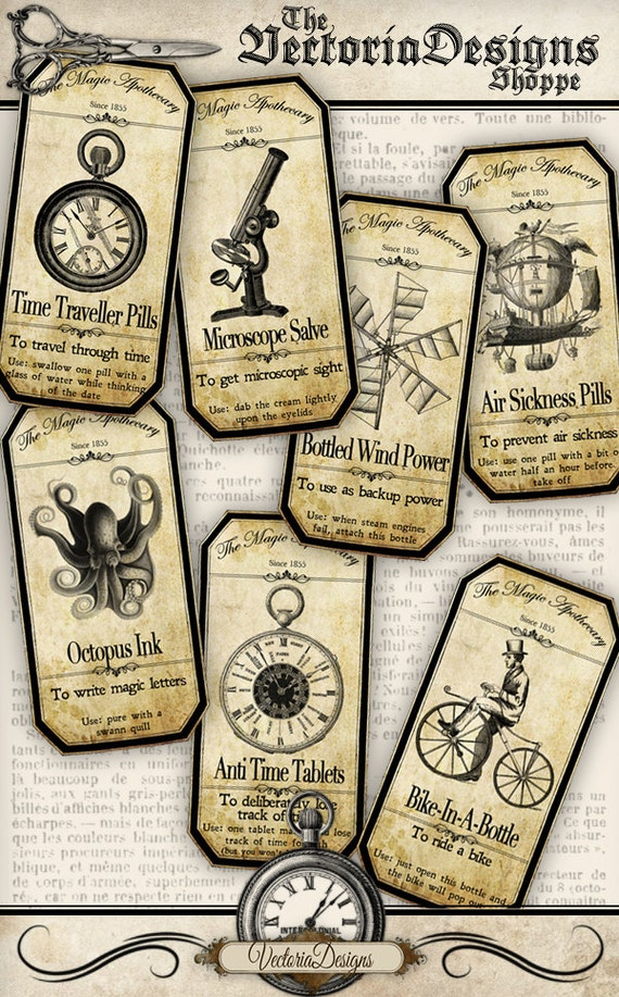 steampunk apothecary labels