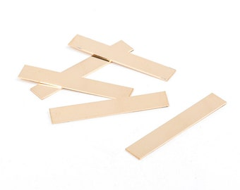 """2 Gold Filled Rectangle Metal Stamping Blanks, 14k, for bar pendants, double clad, 22 gauge, 1.5"""" x 1/4"""" pmg0005"""