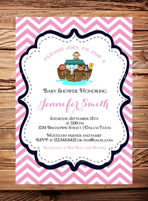 noah 39 s ark baby shower invitation ark baby shower elephant giraffe