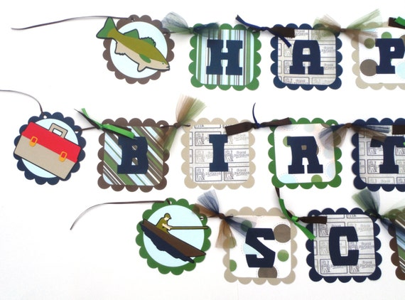 fishing themed happy birthday banner the great outdoors