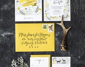 Set of 4 Cards, Spring Woodland Forest Wedding Invitation Printable