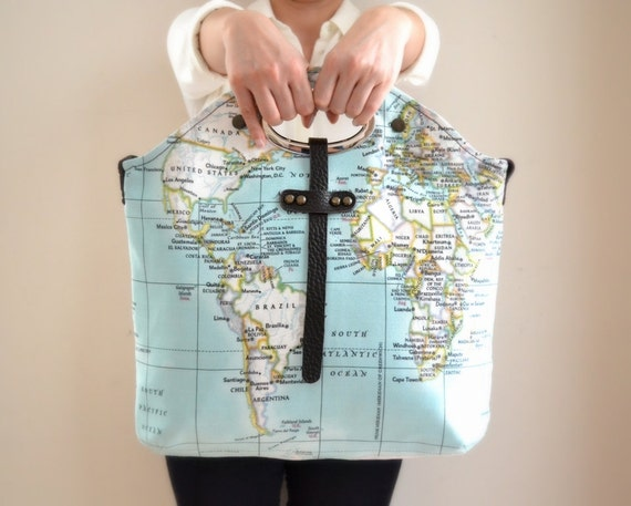 WINTER SALE World Map Purse Tote Bag Hand Bag, World Map Handbag, Weekender Bag, Travel Tote, Travel Gift, Wife Gift, Girlfriend Gift, Woman
