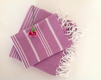 Turkish BATH and Head Towel Set: Handmade Peshtemal and Peshkir, Bathroom decor, Hammam, beach, spa, beach towel, dark pink,  gift
