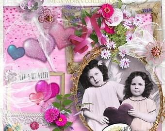 Vintage Valentine by Papier Creatif - Romantic Scrapbook Kit