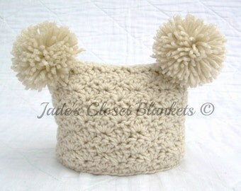 Crochet Off White Neutral Baby Hat, Oatmeal, Aran 0 to 18 months