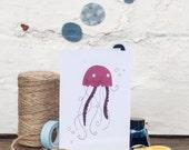 Jellyfish Card, Happy Birthday Card, Blank Card, Seaside, Under The Sea Greetings Card - Free Postage