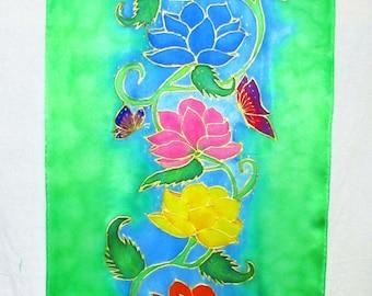 lotus Chakra silk wallhanging,spiritual gift, silk wall hanging, lotus art, chakra art, reiki, spiritual art, meditation, Lotus wall hanging