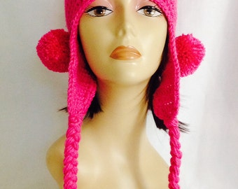 "ear flap hat, ear flap beanie, beanie with pom poms, beanie with braids, pink hat, hand crochet, fits teens and adults 20""-23"""