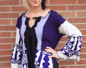 Purple and white UpCyCled sweater with buttons size Medium