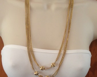 Vintage Extra Long Gold Chain Necklace 54.75 Inches Long with Alternating Gold Ball Links and Gold Clasp Previously 25 Dollars ON SALE