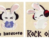 Rocker Bunny embroidered feeding bib.