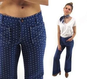 On Sale - 70s Bell Bottom Jeans, Polka Dot Jeans, Hip-Hugger Jeans, Crop Jeans, Flared Denim Jeans, Hippie, Bohemian Δ size: md