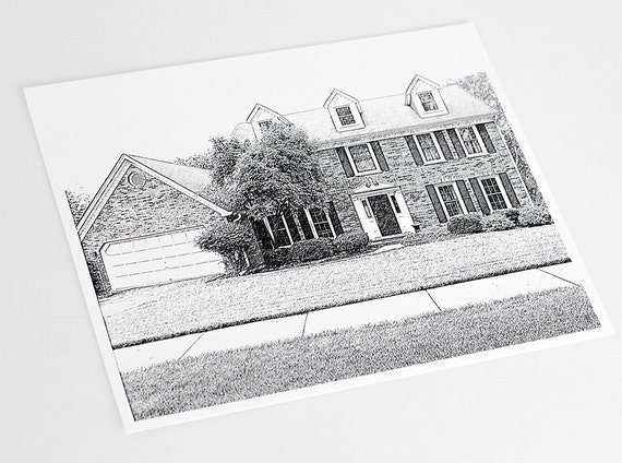Custom Sketch of your Home Art Print / House Illustration Wall Art / Housewarming Gift / 8x10 Digital Print