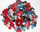 Vintage Buttons, Sewing Supply, Sewing Supplies Destash, Destash Buttons, Red and Blue Buttons, Mixed Lot of Vintage Buttons