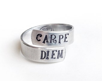 handstamped rings, back to school, silver adjustable ring, gift for her, aluminum wrap ring, twist ring, carpe diem, handmade jewelry