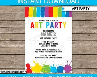 Art Invitation Template - Birthday Party - INSTANT DOWNLOAD with EDITABLE text - you personalize at home
