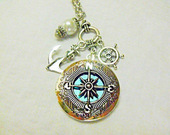 Silver Locket Necklace,   Compass Necklace With Aqua Blue Background, Pearl And charms  Womens Gift  Handmade