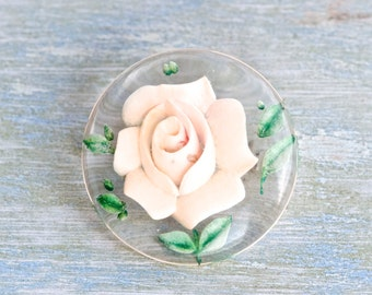 Dainty Pink Rose - Antique Reverse Carved Brooch - Encased beauty