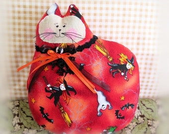 Halloween Cat Pillow, Cat Doll, 7 in. Witches Ghosts Fiery Print, Autumn, Fall, Soft Sculpture Handmade CharlotteStyle Decorative Folk Art