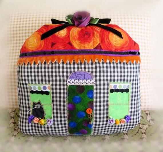Halloween Pillow, House COTTAGE Pillow 9.5 x 9 inches House Home Decor Prim Primitive Handmade CharlotteStyle Folk Art