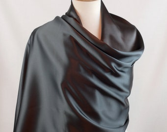Silk Charmeuse Shawl, Wrap in Pewter Elegant Evening or Bridal Wrap or Large Scarf, Large 71 x 21""