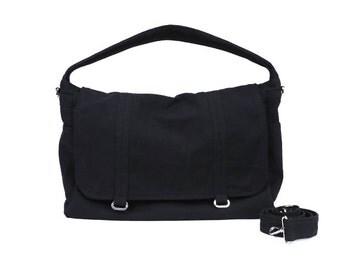 ASHTON  // Black / Lined with Beige / 060 // Ship in 3 days // Messenger Bag / Diaper bag / Shoulder bag / Tote bag / Gym ba