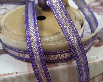 "3/8"" wide Vintage Purple and metallic gold tinsel ribbon trim"