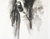 Horse Look 41 - Original Ink Painting of a Horse's Eye