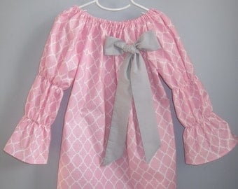 Girls Valentine Dress Valentine's Outfit Girls Easter Dress - Pink Lattice Quatrefoil with Bow 3 6 12 18 24 2T 3T 4T 5/6 7/8 9/10 11/12