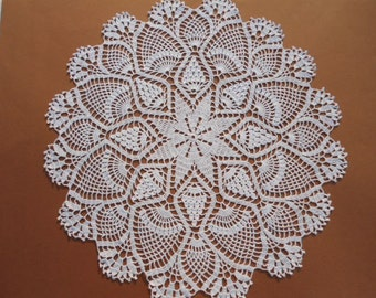 "White crochet doily, large doily, pineapple doily, 19 "", lace tablecloth"